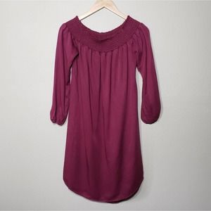 New Isabel Maternity Burgundy Red Chambray Dress S